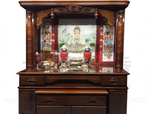 四尺二 實木佛櫥 竹柱(綢布彩)含上桌玻璃