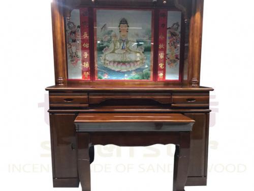 四尺二 實木佛櫥(綢布彩)含上桌玻璃