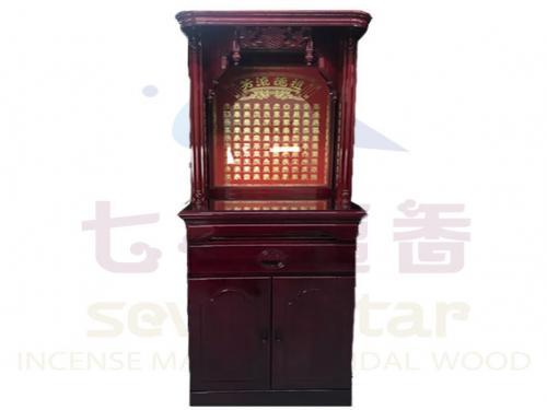 二尺二實木佛櫥(百福,百壽,紅板)含上桌玻璃