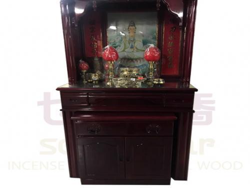 三尺六 實木佛櫥(綢布彩)含上桌玻璃