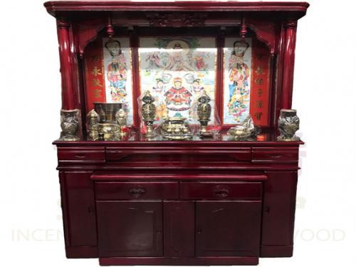 五尺七 實木佛櫥(綢布彩)含上桌玻璃