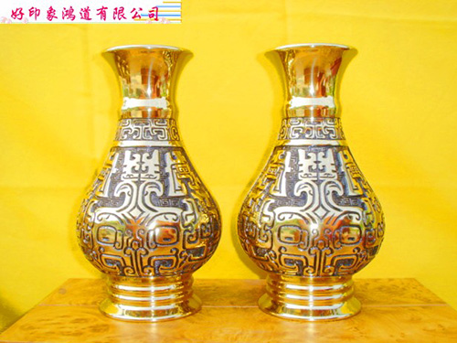 中古紋花瓶8寸2/對